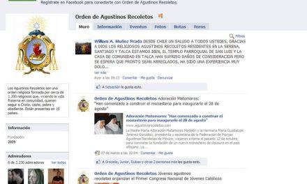 Los agustinos recoletos superan la cifra de 2.200 seguidores en Facebook